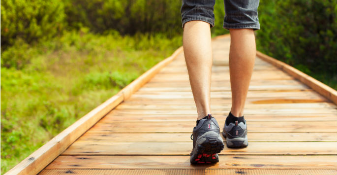 Man's legs in sneakers walking in a nature preserve on a wooden-planed path